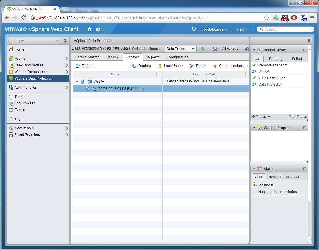 VMware Data Protection -