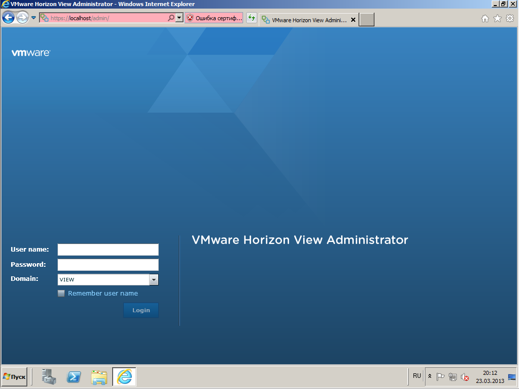 VMware View Connection server 14