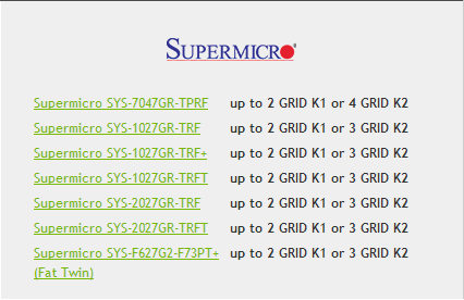 Supermicro for Nvidia GRID